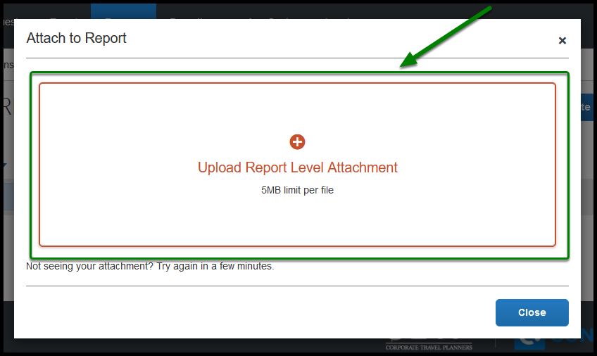 Arrow pointing towards Upload Report Level Attachment to upload attachments.