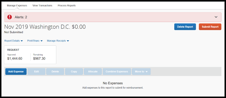 Your screen will refresh and you will see your expense report.