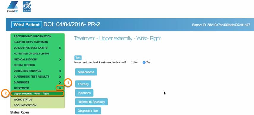 Enter Treatment Upper Extremeity