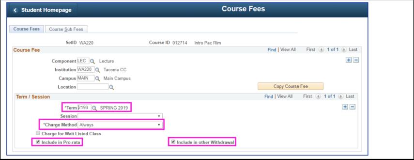 Class Fees tab