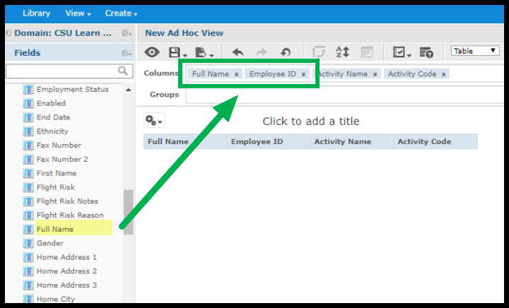 Fields showing in columns section on new ad hoc view page