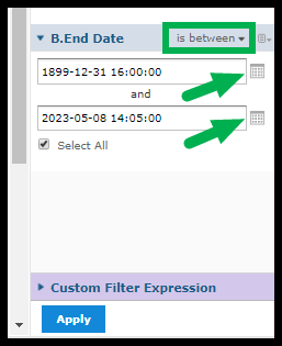 Green box outlining time frame settings and calendar icons