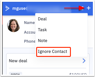 Ignore contact
