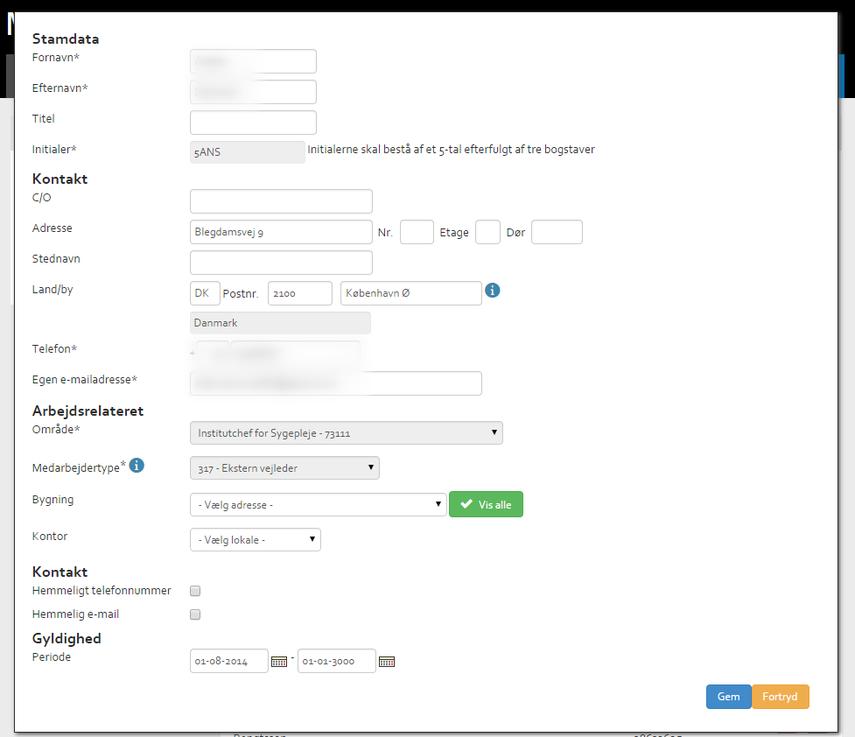 Rediger brugerens oplysninger