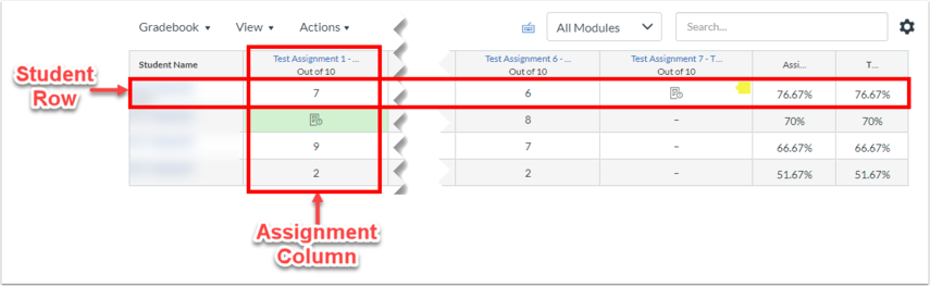 Student Row and Assignment Column