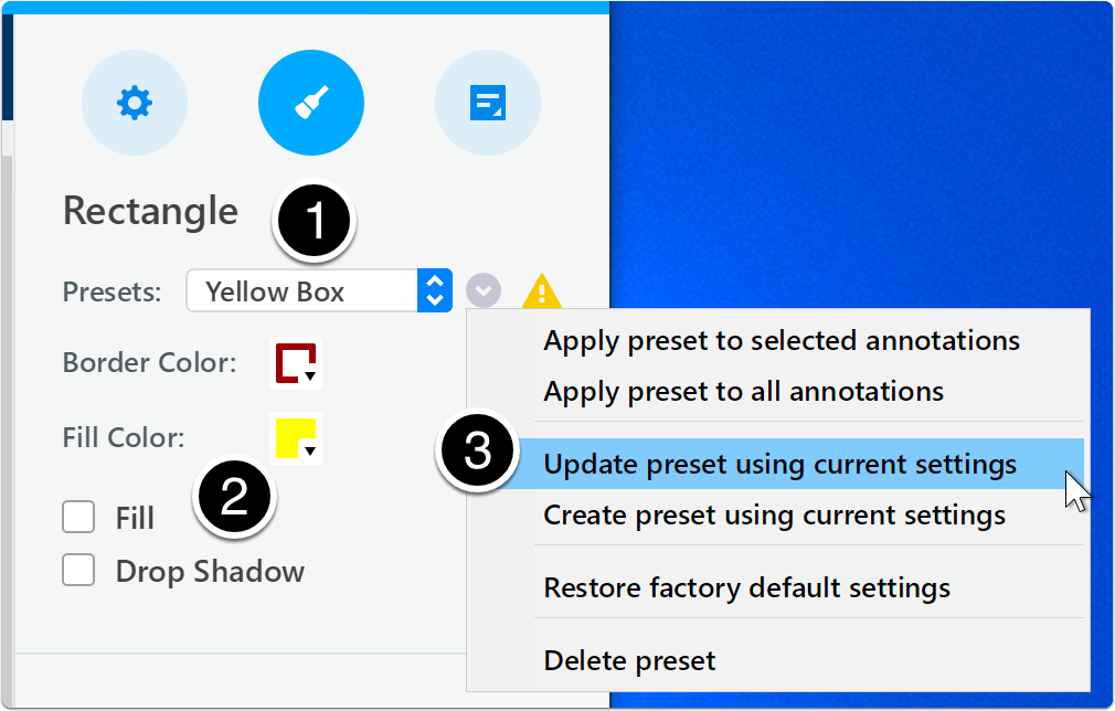 Update annotation preset