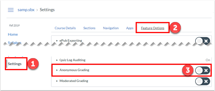 "Click ""Settings"", go to ""Feature Options"", turn on ""Anonymous Grading""."