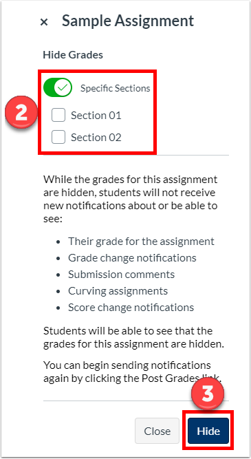 "Optionally choose a section, click ""Hide"""