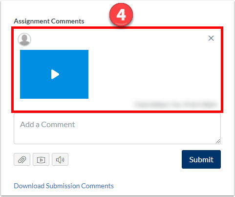 "Feedback appears under ""Assignment Comments"