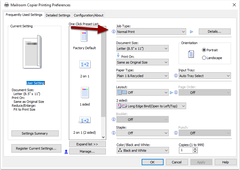 Printing preferences frequently used settings screen