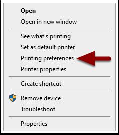 Printing preferences detail