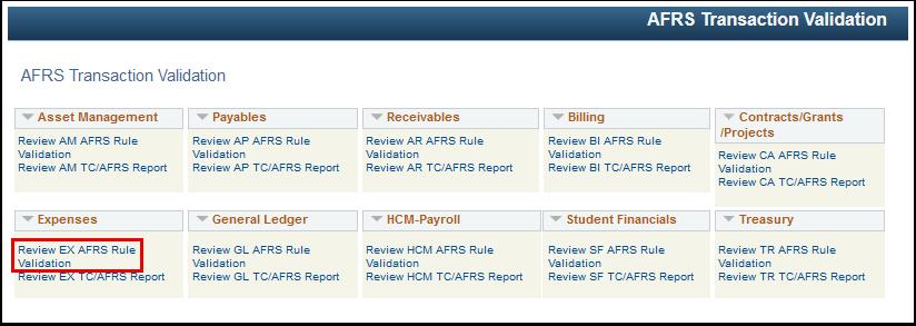 AFRS Transaction Validation