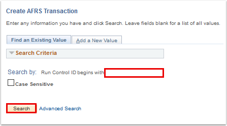 run control id search page