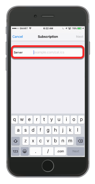 Tap twice in the server field to bring up the option to Paste.