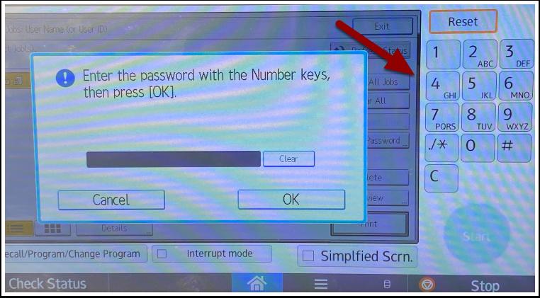 password popup with keypad