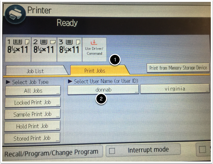 Print Jobs tab on Printer screen