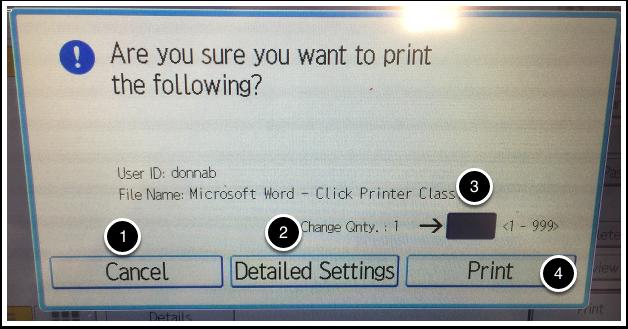Print confirmation popup