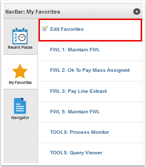 My Favorites page select edit favorites