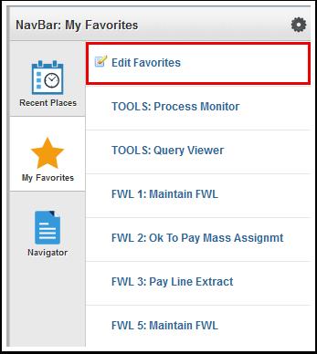 Select Edit Favorites to delete favorites