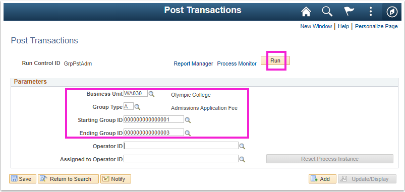 Image of the Post Transactions Parameters