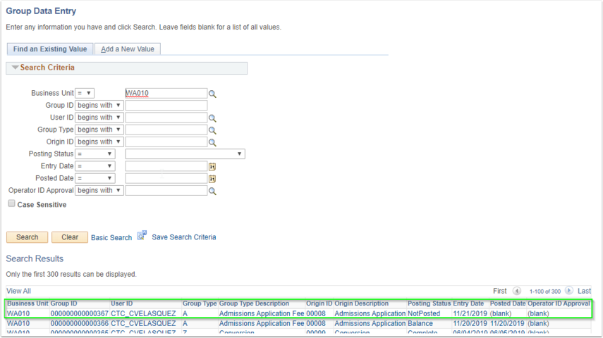 Image of the Group Data Entry page with search results displayed