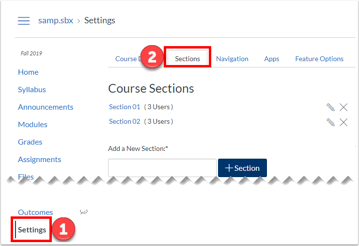 Sections tab in Settings