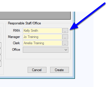 Assign the responsible Staff Members