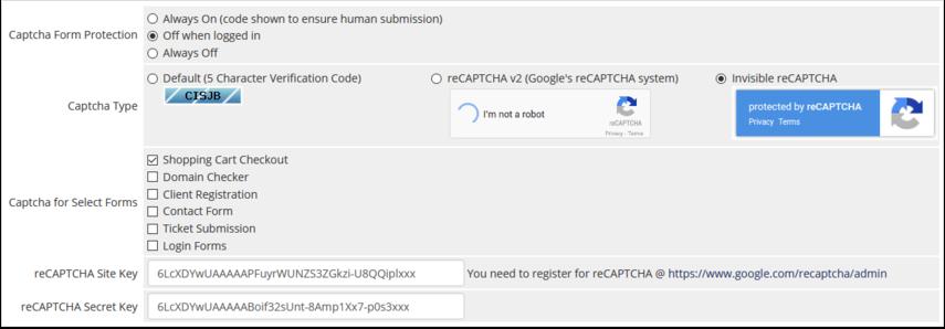 v7.7+ captcha configuration