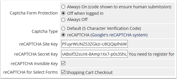 v7.6 captcha configuration
