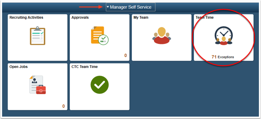 Manager Self Service homepage