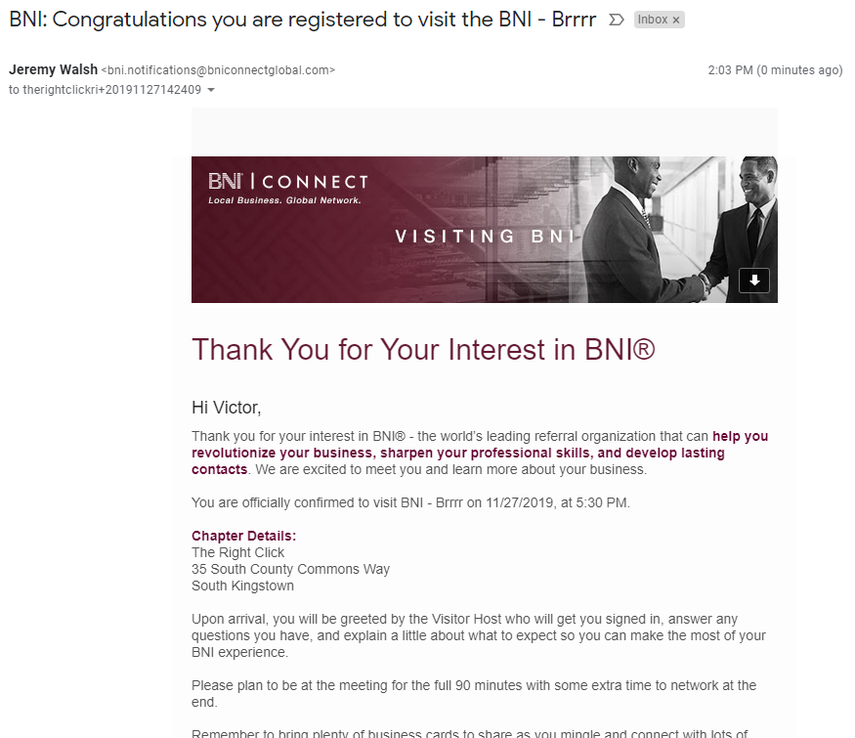 After Registering, the Prospective Visitor Will Receive a Confirmation Email