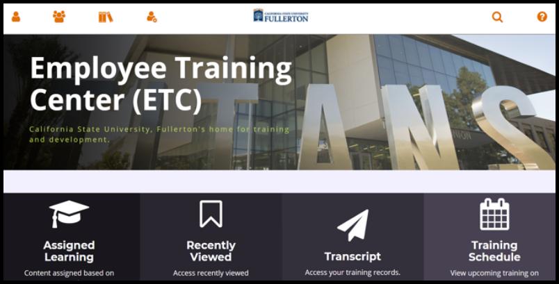 Employee Training Center dashboard.