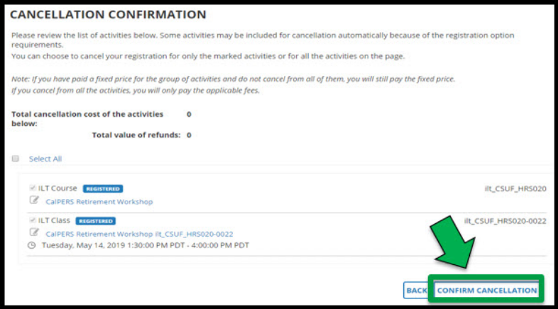 Cancellation confirmation page. Green arrow pointing towards the Confirm Cancellation button.