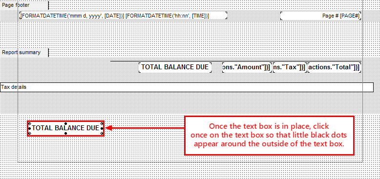 Adding Text to Bottom of Invoice
