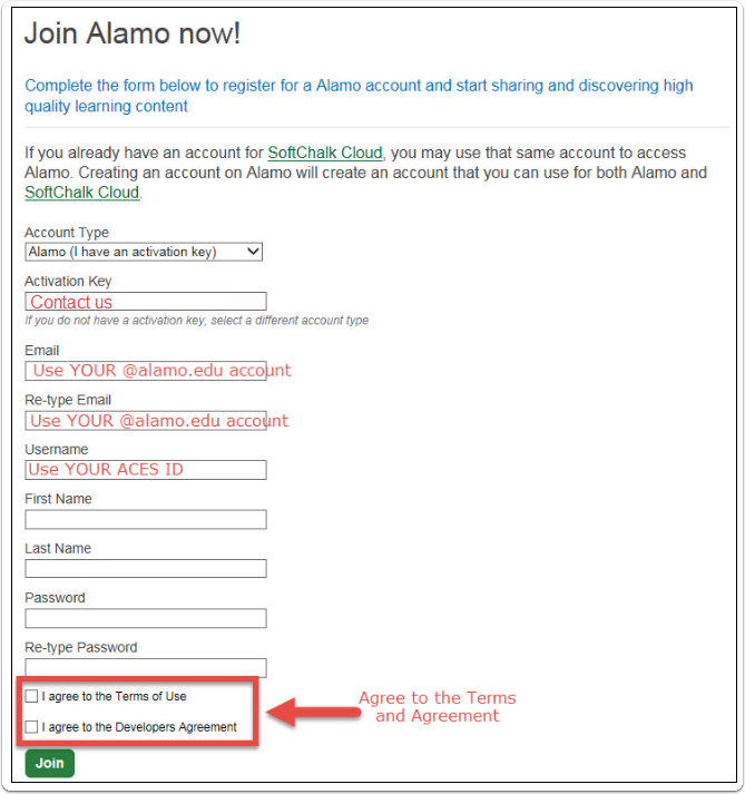 "Use ""Alamo (I have an activation key), your ACES information when typing email addresses, and ACES ID for username"
