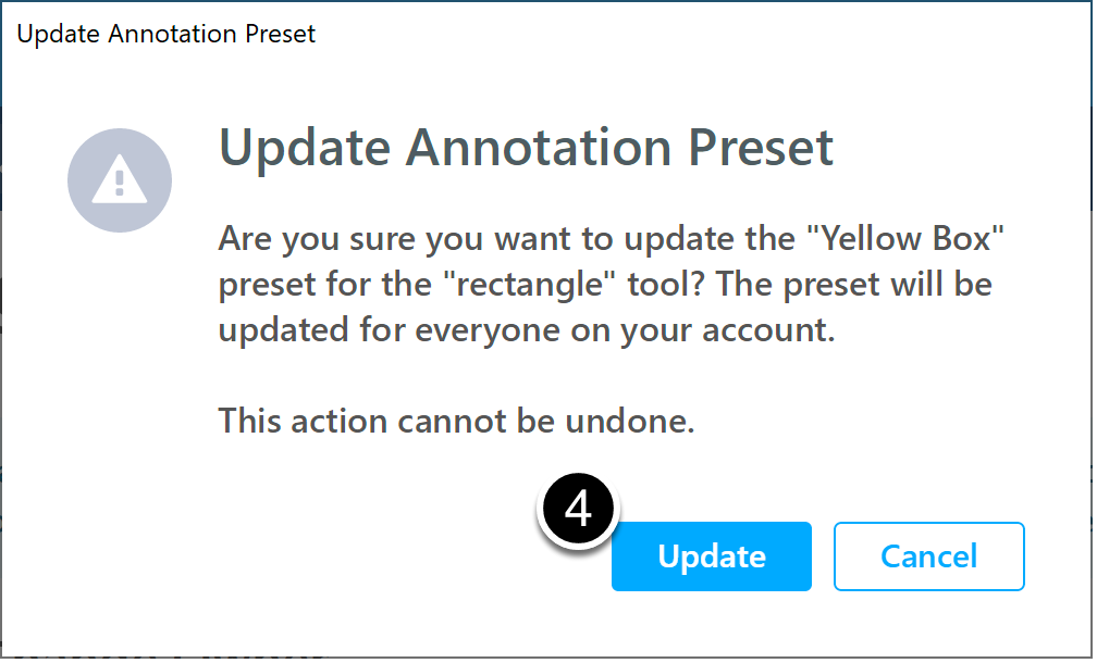 Confirm update annotation preset