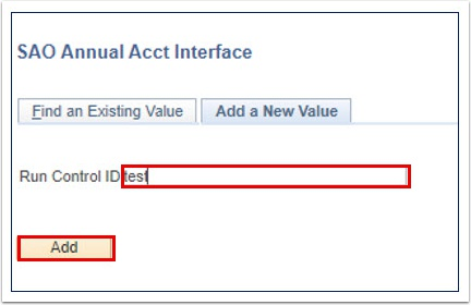 SAO Annual Acct Interface Add a New Value tab