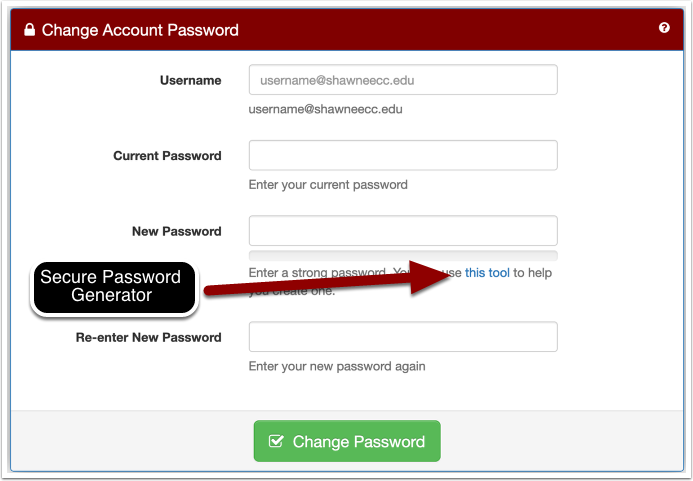 change account password page