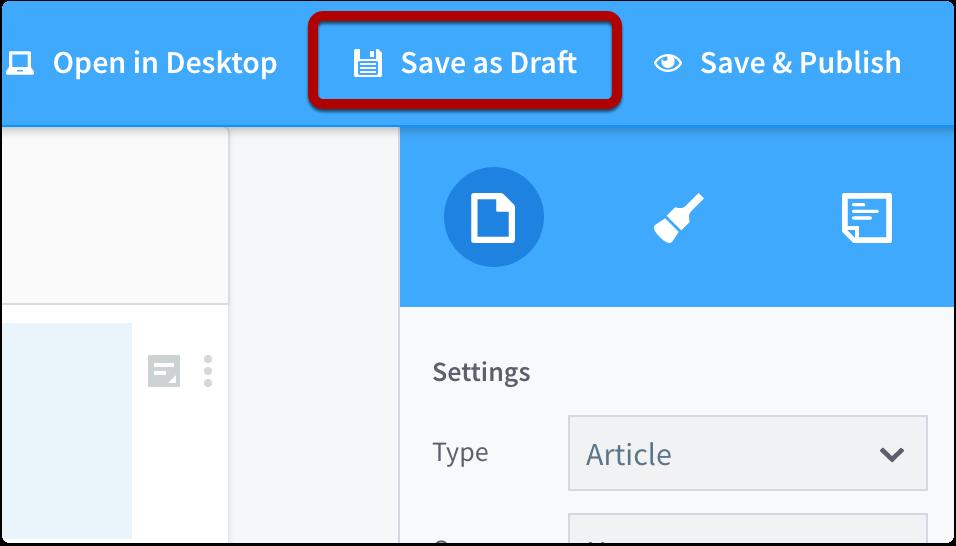 Save as Draft (Web)