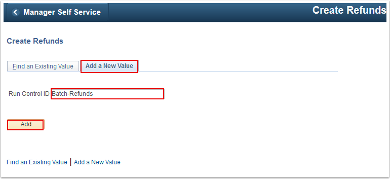 Create Refunds Add a New Value tab