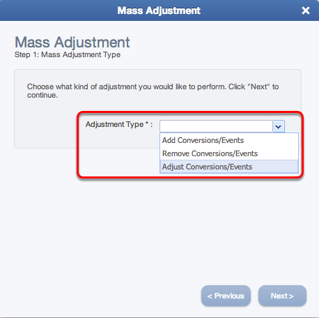 Step 1 - Mass Adjustment Type