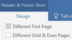 header and footer tools menu