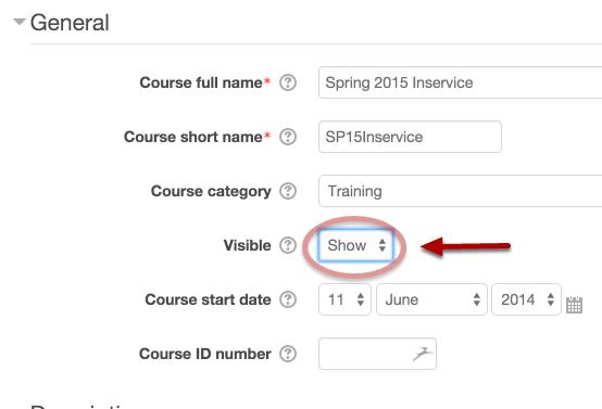 Course settings screen
