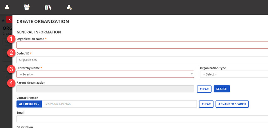 Required fields to fill in