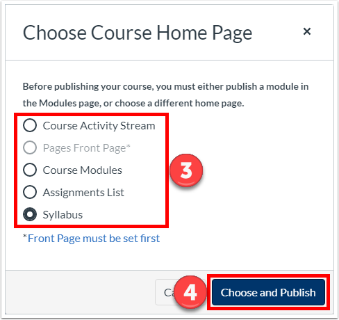 "Optionally choose a Home Page, click ""Choose and Publish"""