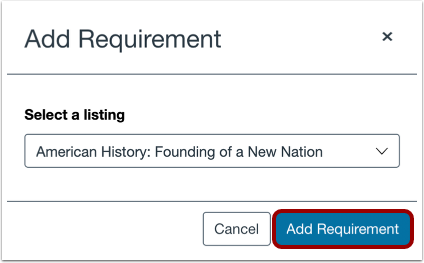 Add Selected Course or Program