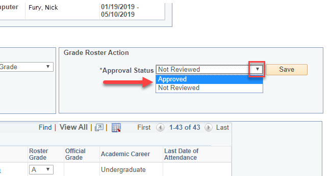 Approval Status drop-down button