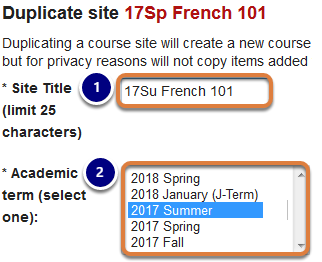 Site title and term entered