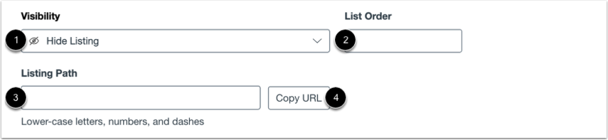 View Listing Path and List Order