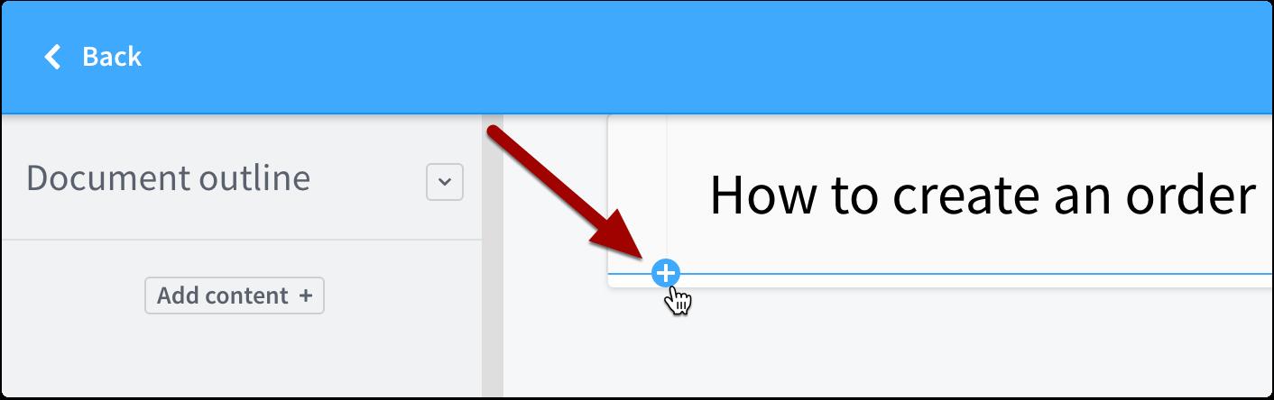 Click + button